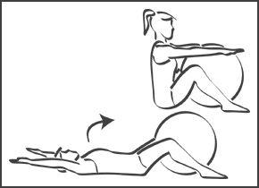 Abdominaux - Exercice avec ballon N°9 Muscles sollicités : Abdominaux : grands droits de l'abdomen, adducteurs