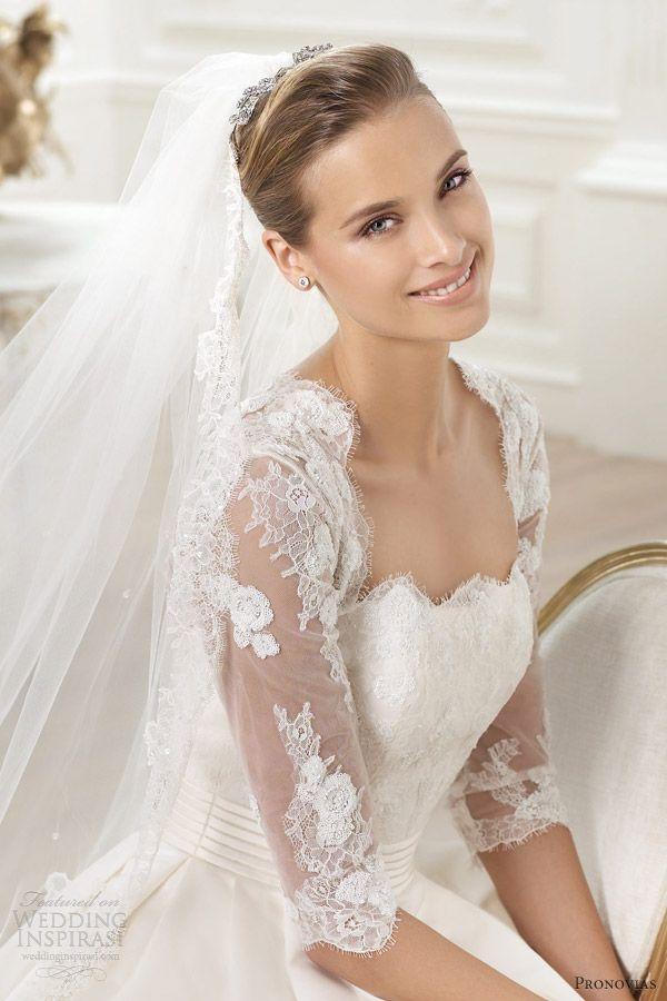 pronovias 2014 costura leslie wedding dress illusion sleeves #wedding #bride #dress #fiorly @Fiorly