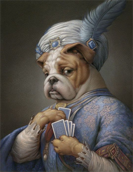 surreal painting dog by kurt wenner.