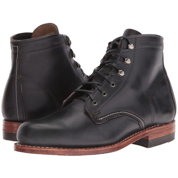 Wolverine Original 1000 Mile Boot (Black) Women's Work Boots ($360) ❤ liked on Polyvore featuring shoes, boots, ankle boots, low heel ankle boots, long black boots, black work boots, leather boots and wolverine boots
