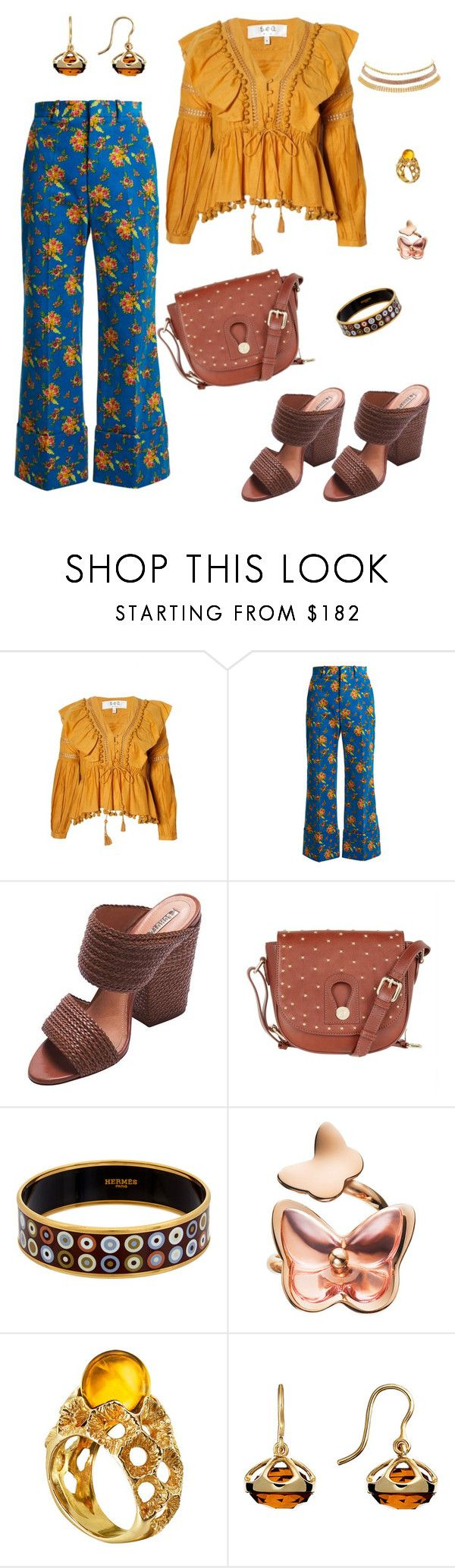 """""""floral pants+pom pom blouse"""" by marlenewelke ❤ liked on Polyvore featuring Sea, New York, Gucci, Schutz, Somerset by Alice Temperley, Hermès, Baccarat and Charlotte Russe"""