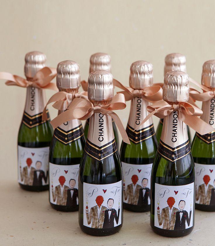 Preston bailey39s wedding favors mini champagne bottle for Mini wine bottle wedding favors