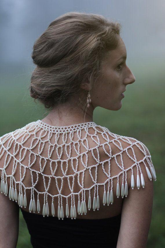 Vintage Pearl Collar Bib Necklace Bolero by FoxberryFarm on Etsy