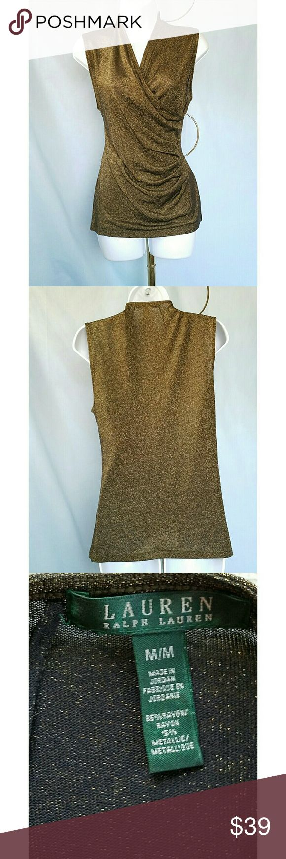 """⬇️RALPH LAUREN BLACK LABEL SPARKLY  BRONZE  TOP NWOT RALPH LAUREN SPARKLY BRONZE FAUX WRAP SLEEVELESS TOP Size M. Deep V-neck faux wrap is ruched at the side for dramatic effect! 85% rayon and 15% metallic  Armpit to armpit is 16"""" and shoulder to hem length is 24.5"""". All measurements are approximate and taken flat. Pristine condition ~ looks brand new. Ralph Lauren Black Label Tops Tank Tops"""