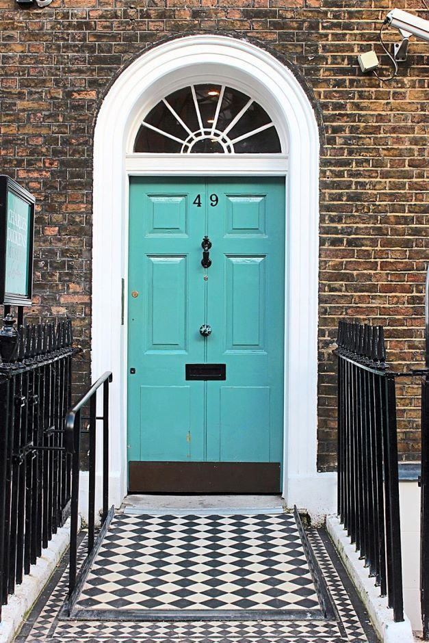 The door of the Charles Dickens House in the Bloomsbury section of London. This is where the author and his wife lived when fame first came knocking on his door, and where he wrote Oliver Twist, among other books.