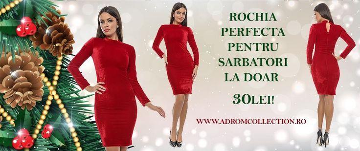 În stocul Adrom Collection a intrat din nou această superbă rochie, confecționată din catifea prețioasă, perfectă pentru sărbătorile de iarnă. <3 Are mâneci lungi, iar materialul este unul foarte fin. Preț?  Doar 30lei! <3    Comandă acum! Stoc limitat!  Link: http://www.adromcollection.ro/rochii/391-rochie-angro-r552.html