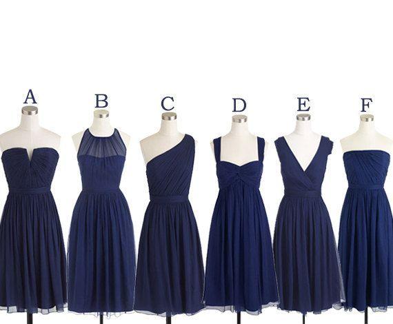 Short Bridesmaid Dresses Navy Blue Chiffon Bridesmaid Dress Mismatch Maid of Honor Dress Girls Group Dress in Knee Length,Simple Cheap Prom Dress