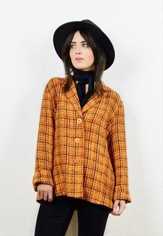 90s+orange+checked+boucle+knit+thin+jacket