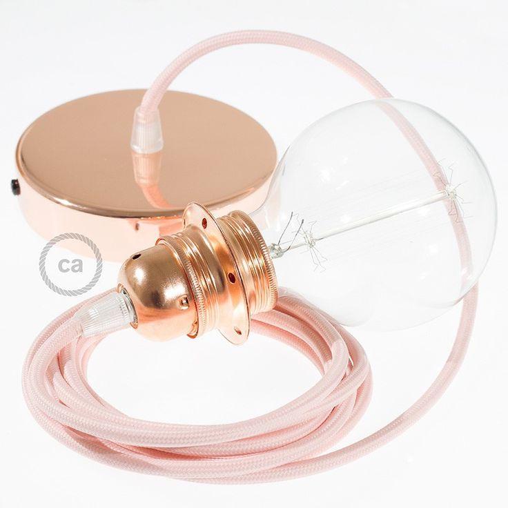 Závesná lampa pre tienidlo s okrúhlym textilným káblom - hodváb - ružová RM16
