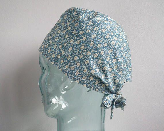 Blue Floral 'Helena' Tie Back Scrub Hat Scrub hats