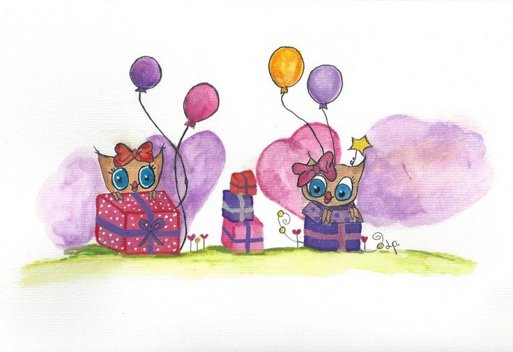 Celebation for at girl. Will be made into cards. But this picture is the original in A4 size and will be framed. Painted with aquarelle colors, pencil ets. on mixed media paper. Owls, ballons, present and love. made by LP.