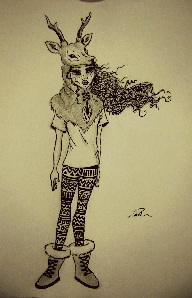 'Is that you Bambi?' - Marker and pencil character by Flora Laszlo, 2012
