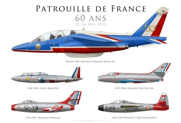 60 Ans de la Patrouille de France. Representative colours & aircraft over 60 years of Patrouille de France.