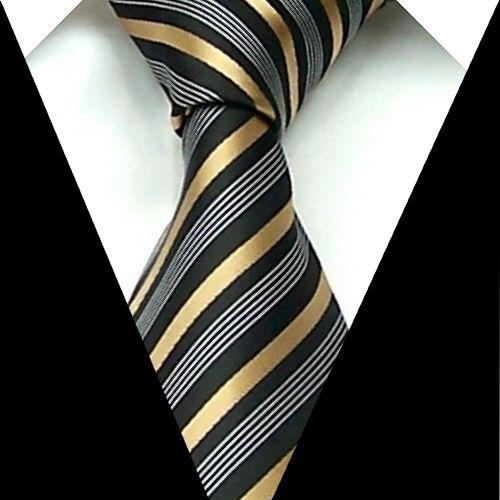 Brand New Necktie Polyester gray black gold stripe Handmade Men's Tie F35-in Ties from Apparel & Accessories on Aliexpress.com