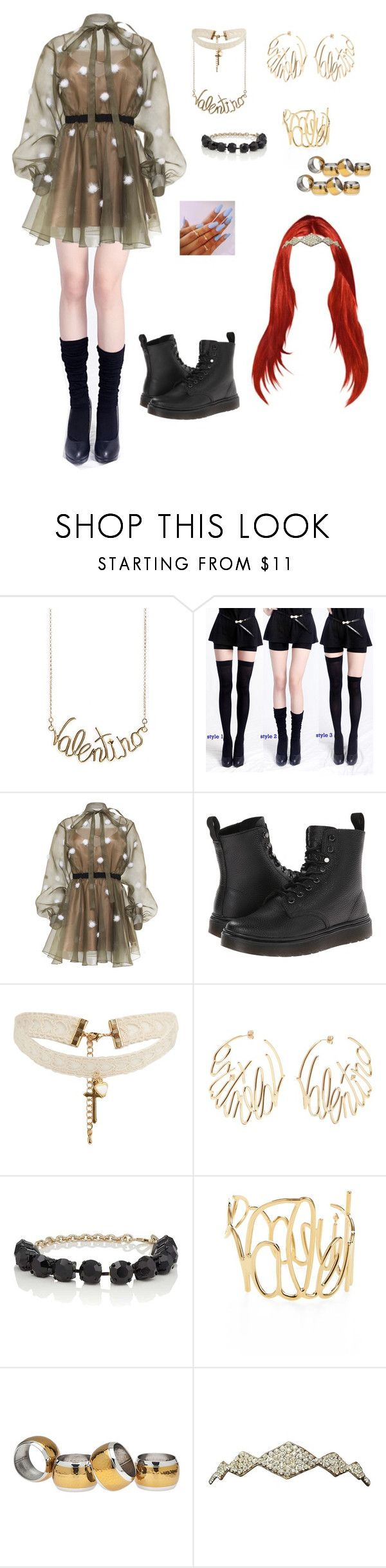 """""""QUEENs from The 32nd Golden Disc Awards 2018 Day 1 - Stage (3)"""" by theshadesofdark ❤ liked on Polyvore featuring Valentino, Dr. Martens, ASOS and Godinger"""