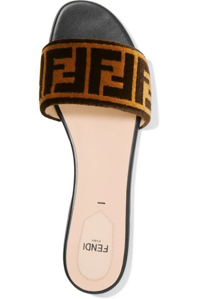 2fa742c625f9 FENDI Logo-print velvet slides. Women s Designer Shoes. Fendi. Fashion.   fendi  shoes