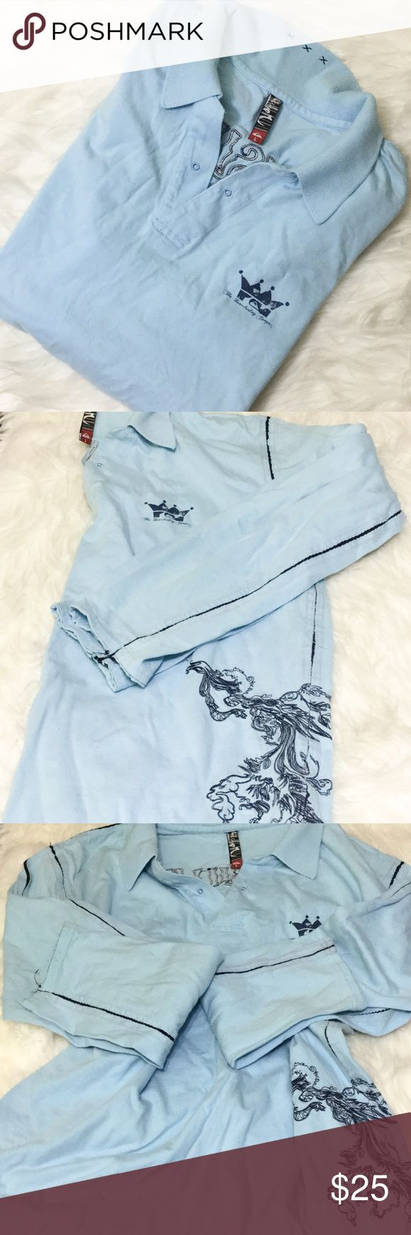 "LG QUIKSILVER LONG SLEEVE POLO Brand is ""Quiksilver"". Size is men's size large. Three button collar long sleeve polo shirt. Casual style. Light blue with dark royal blue accents. Dragon embroidered design.  Posh rules only No paypal No lowballing  Price firm unless bundled.  I'm a suggested user and party host, posh ambassador, posh mentor, and I'm five star rated so buy with confidence!  H A P P Y  P O S H I N G  ⭐️✨⭐️✨⭐️✨🙏✨⭐️✨⭐️✨⭐️ Quiksilver Shirts Casual Button Down Shirts"