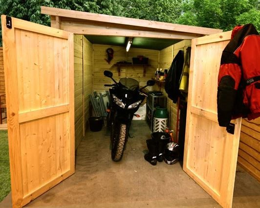 the billyoh motorbike storage shed 7x9 front with bike - Garden Sheds 5 X 9