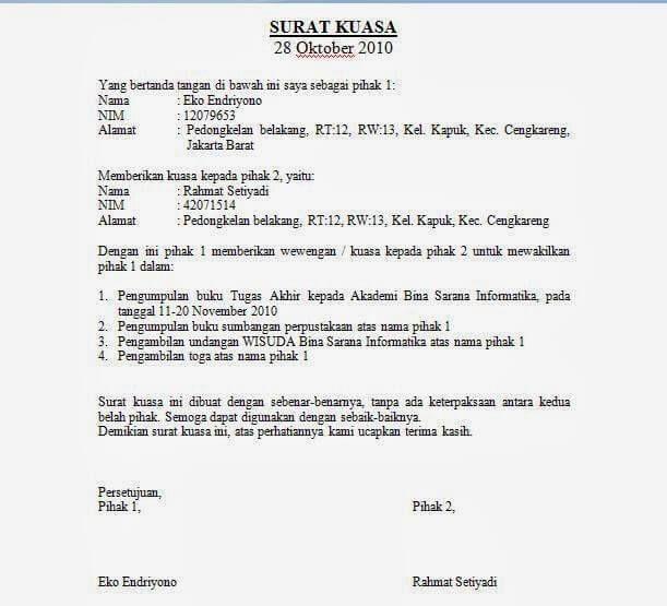 Contoh Surat Kuasa Buka Rekening Bank Bri - Kumpulan ...