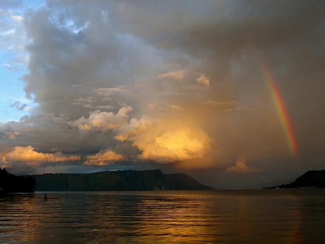 rainbow at Lake Toba, North Sumatra, Indonesia