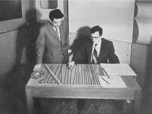Bruno Maderna (L) and Luciano Berio editing tape