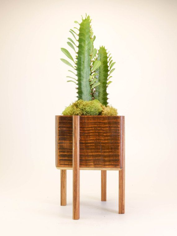 Bamboo Planter With Legs Planter With Stand Succulent Great Etsy