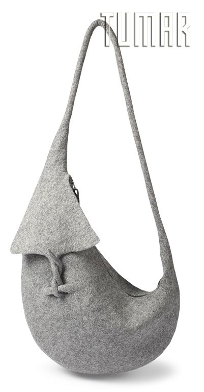Bag.Felt - 100% wool. Handmade, solid-rolled. Technique - resist felting. Color: grey mélange. Catalogue: Going Wild, 2016. Tumar Art Group.