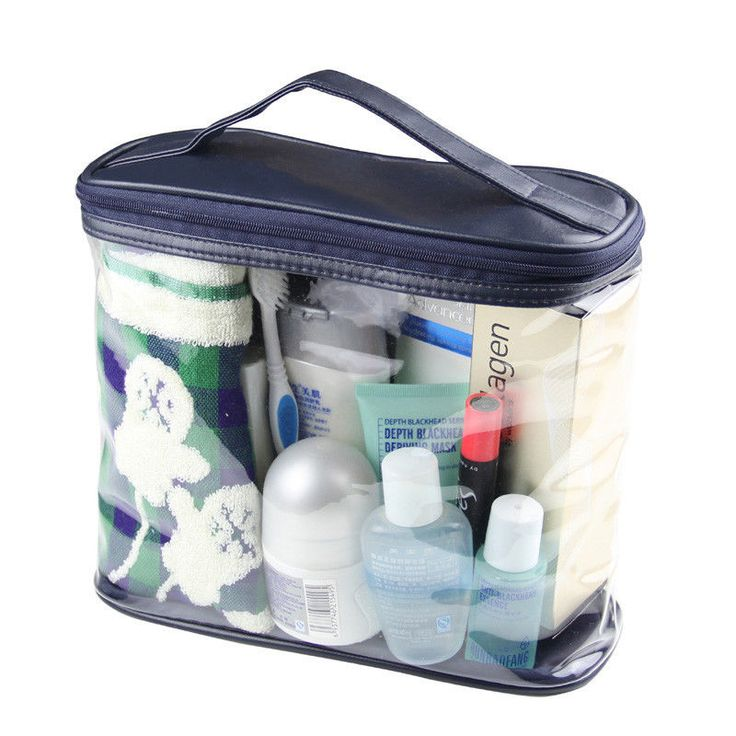 Transparent Cosmetic Makeup Bag | Clear Cosmetic/Toiletry Case For Air Travel