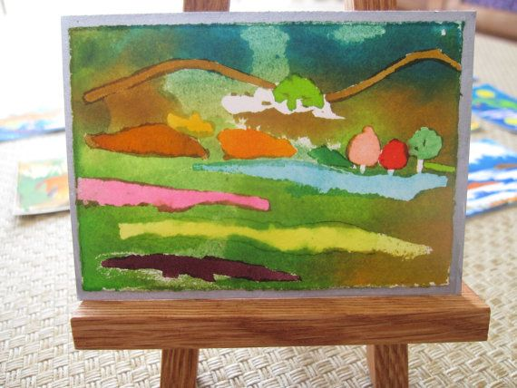 Landscape, abstract, original aceo, watercolour ink by Brigitte