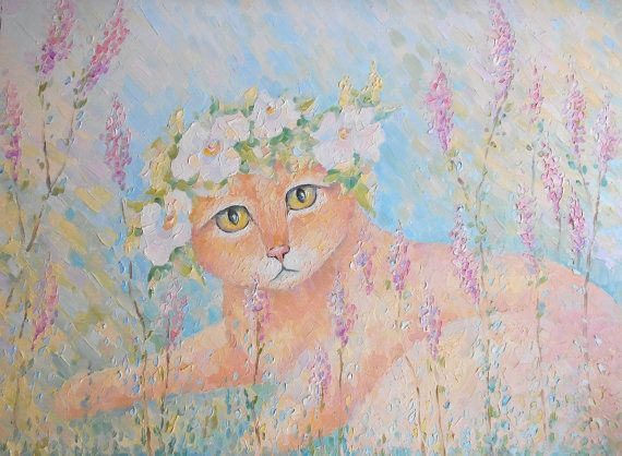 Funny Ginger Cat in Grass Oil Painting Pastel Floral by FrozenLife