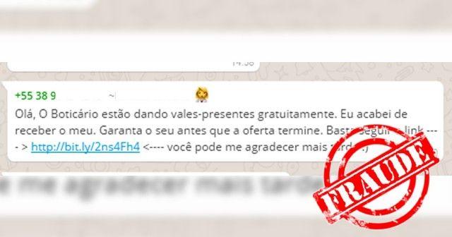 """Promoção falsa da """"O Boticário"""" circula em diversas redes sociais"""