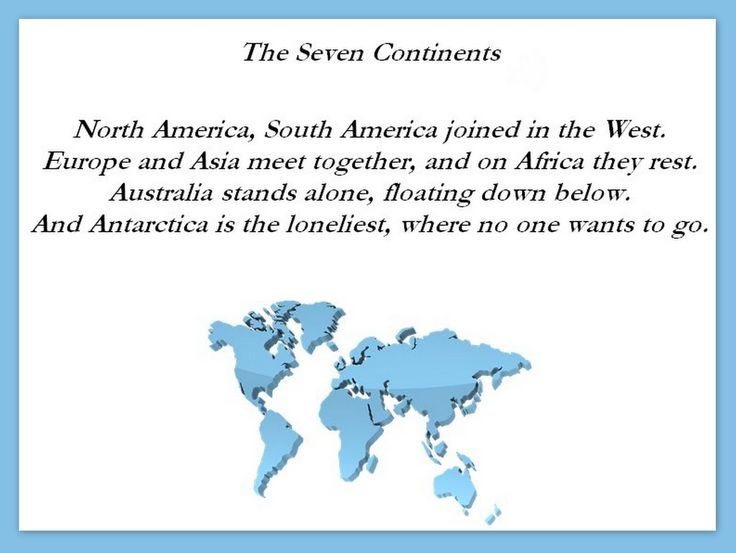 The Seven Continents Poem