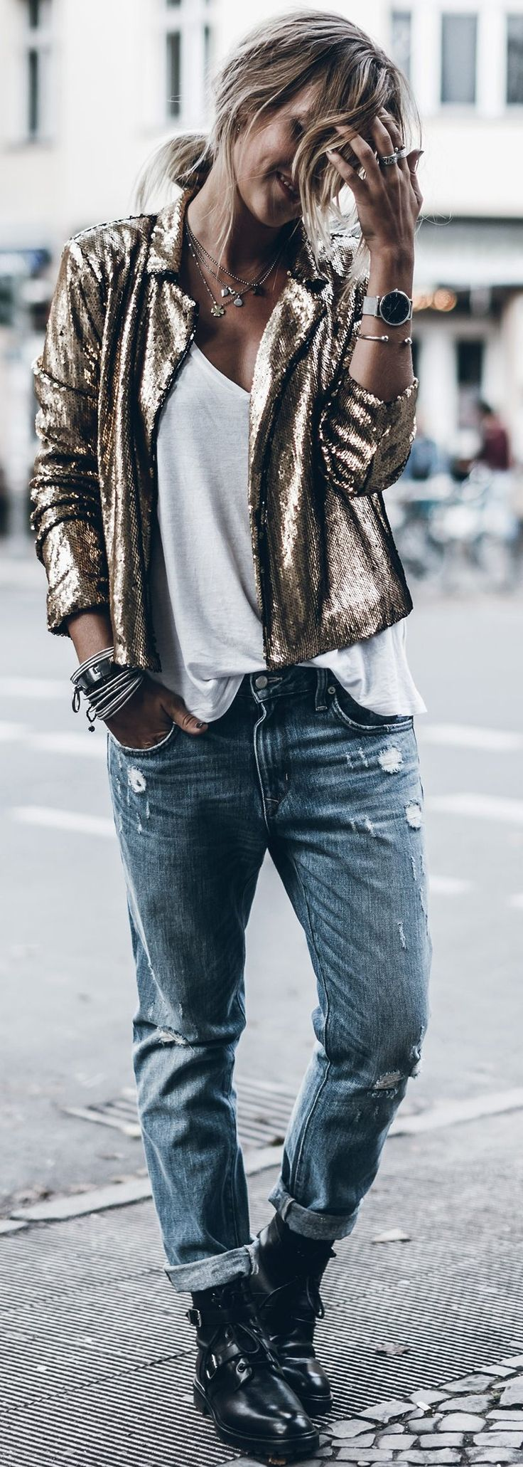 Gold Sequins + Basics                                                                             Source