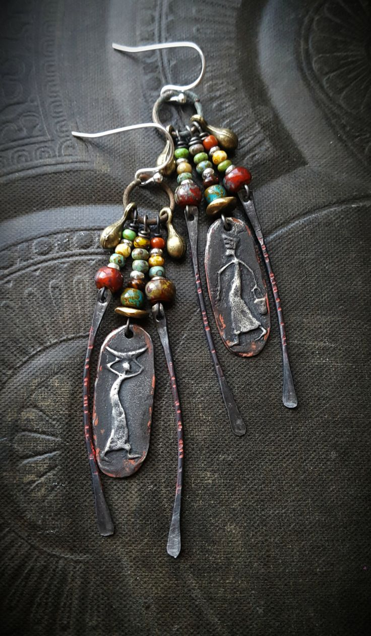 Inviciti, Tribal, Primitive People, Village People, Pewter Charms, Brass, Glass, Daggers, Artisan Made, Dangle, Vintage, Beaded Earrings by YuccaBloom on Etsy