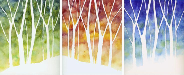 Elementary Art Show Ideas   Three Seasons — Negative Painting and Dragon Dance - WetCanvas