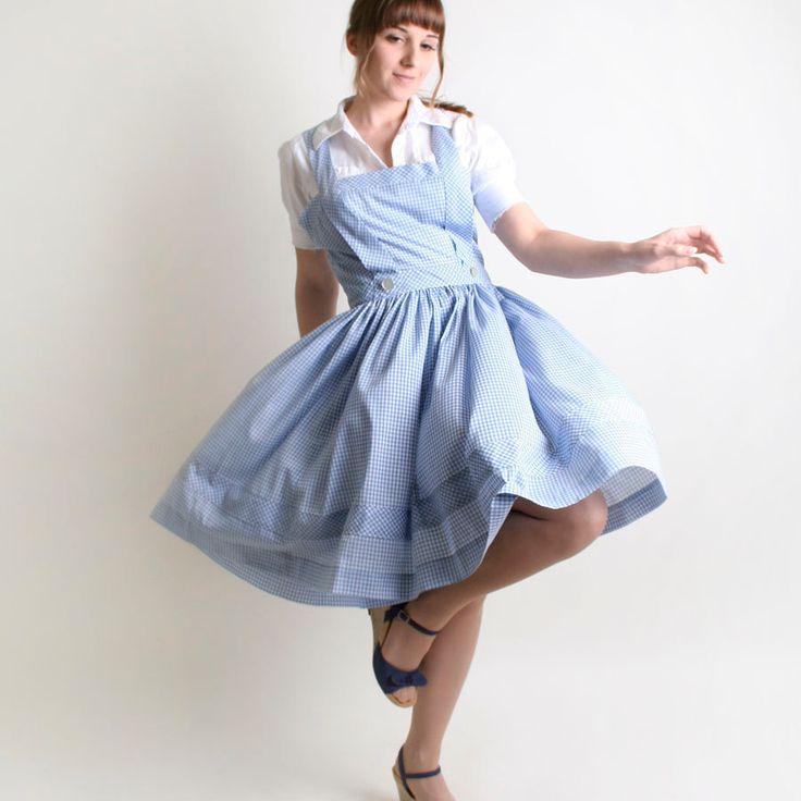 Summer Gingham Dress - Vintage Dorothy Gale Sky Blue and White Jumper - Large. $75.00, via Etsy.