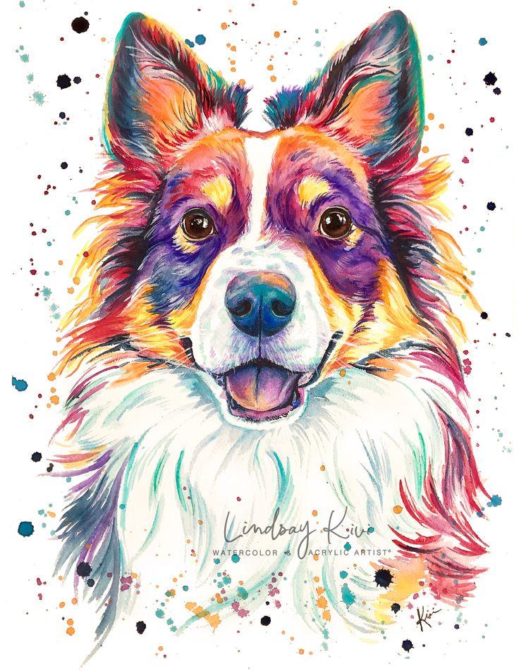 Mini Australian Shepherd Colorful Watercolor Print