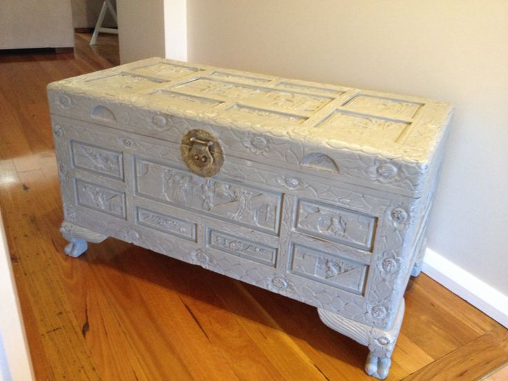 Chinese camphor wood chest freshly painted in ASCP French linen with pure white underneath. Lightly distressed so the timber and white peeps through and sealed.