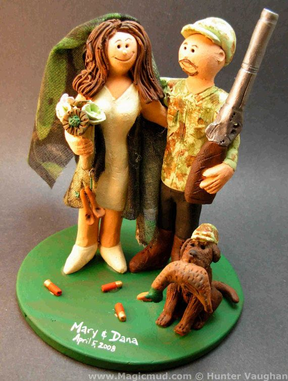 Camouflage Bride and Groom Wedding Cake Topper,     Redneck's Wedding Cake Topper custom created for you! Perfect for marriage of a Redneck Hunting Groom and his Bride!    $235   #magicmud   1 800 231 9814   www.magicmud.com