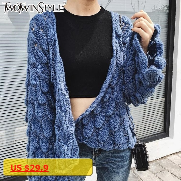 TWOTWINSTYLE Autumn Crochet Female Cardigan Sweater for Women Knitting Coat Female Flare Long Sleeve Casual Knitted Top Korean