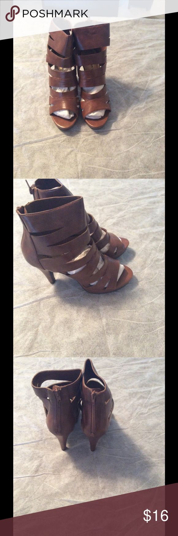Madden girl cage heels Cage heel sandals in reddish brown. Excellent condition. never worn Madden Girl Shoes Ankle Boots & Booties
