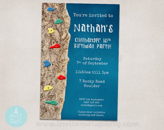 Rock Climbing Party Invitation by InviteMe2Party on Etsy