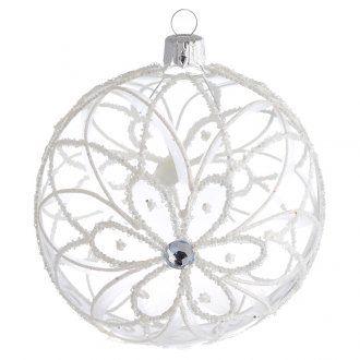 Tannenbaum Kugel transparenten Glas mit Blume 100mm | Online Verfauf auf HOLYART