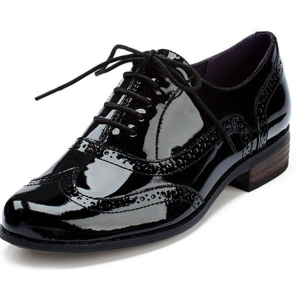 Clarks Hamble Oak Ladies Brogues (230 BRL) ❤ liked on Polyvore featuring shoes, oxfords, lace up shoes, black flats, lace up flat shoes, shiny black flats and perforated flats