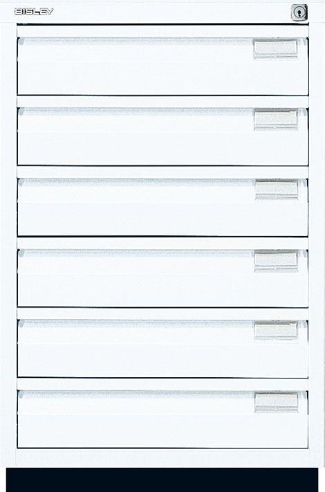 Bisley Schubladenschrank Serie F 6 Universalschubladen mit Innenhöhe 95 mm, mit Griffleiste Leichtgängige Laufschienen sorgen für einen leichten Auszug, auch bei schwerer Beladung 100% Auszug gewährleistet...