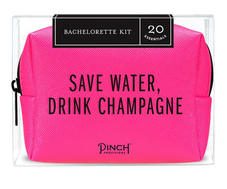 "Save water, drink champagne! Pop this 20-piece Bachelorette Kit in your purse and focus on what matters: the last fling before the ring! From a dice game to ""bride squad"" button, blister balm to blott"