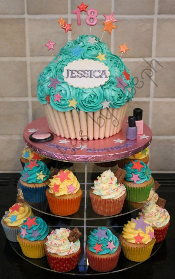 Giant cupcake birthday cake idea only, no recipe attached