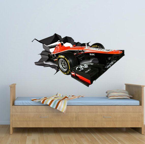Muur stickers Full Colour 3D F1 Racing auto raceauto gebarsten