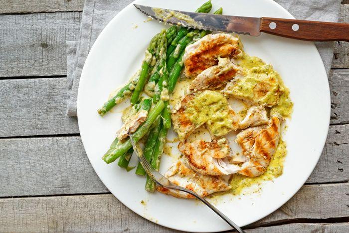 Курица в горчичном соусе со спаржей, пошаговый фото рецепт, кулинарный блог