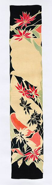 Scarf: poinsettia motif, by Lucie G. DALGARNO, (1874-1945) Sydney artist and designer, born Lucie  / Lucy Gertrude Holdsworth.  Widowed young, Dalgarno supported her family by designing fabric, and accessories with Australian motifs. Her signature was her bold use of colour. She designed for David Jones, and had a shop in the Victoria Arcade, Sydney.